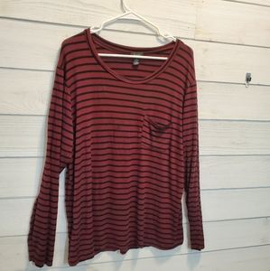 Justify Black and Purple Striped Long Sleeve Top